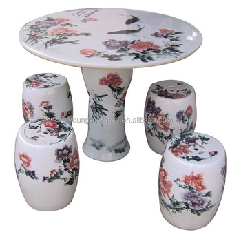 Hand Painted Ceramic Garden Table Set And Stool