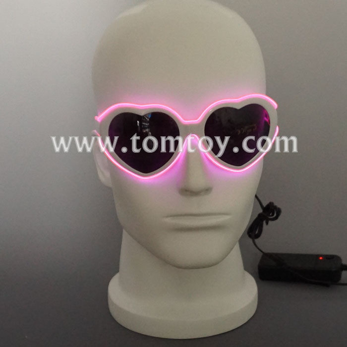 2018 New LED Pink Heart Shape EL Wire Shade glasses