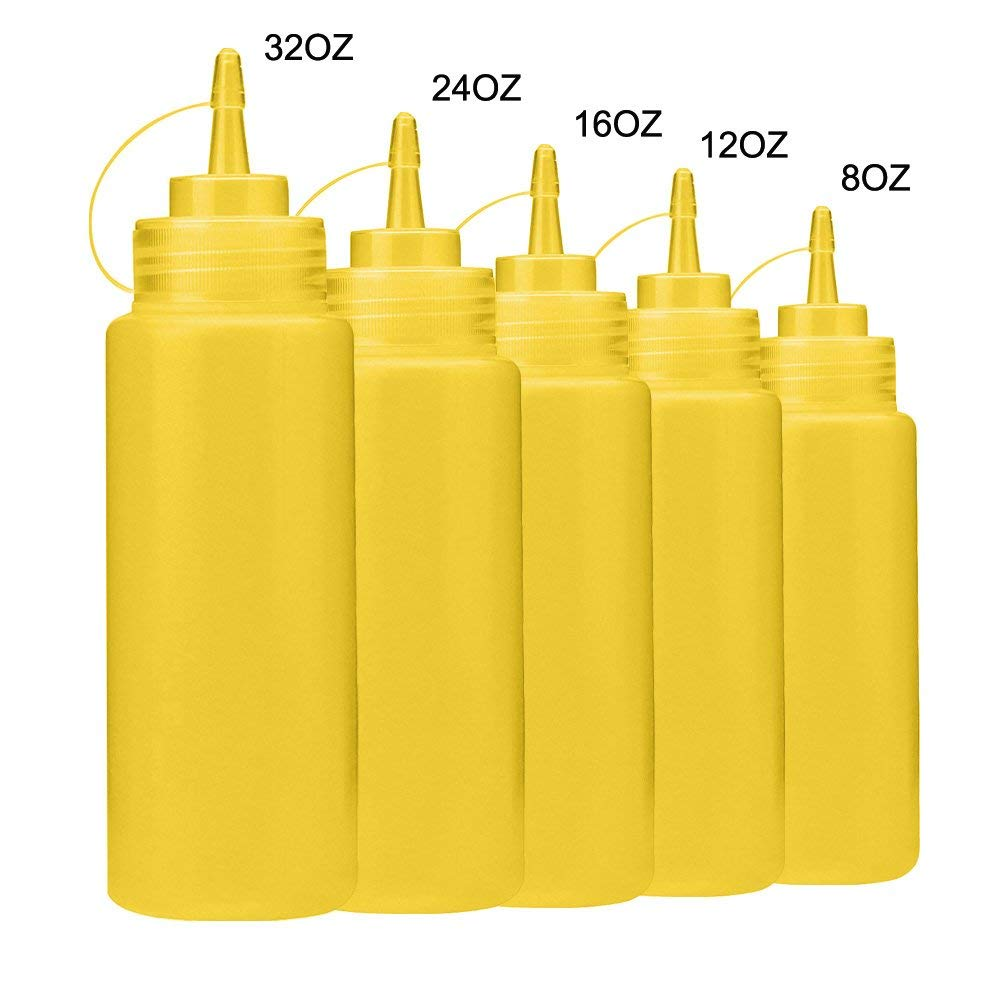 Plastic Squeeze Bottles, 32 Ounce Condiment Squeeze Bottle with Caps, Erasable Marker for Sauces, Dressings, Arts & Crafts,5 Sizes (Yellow)