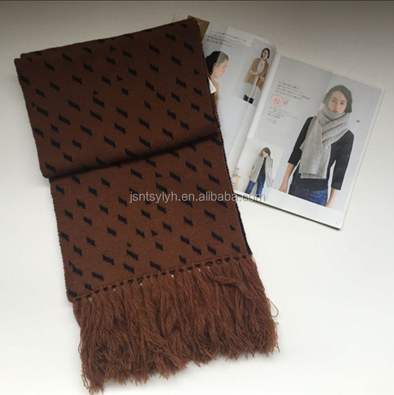 Womens Jacquard Cashmere/Wool Scarf