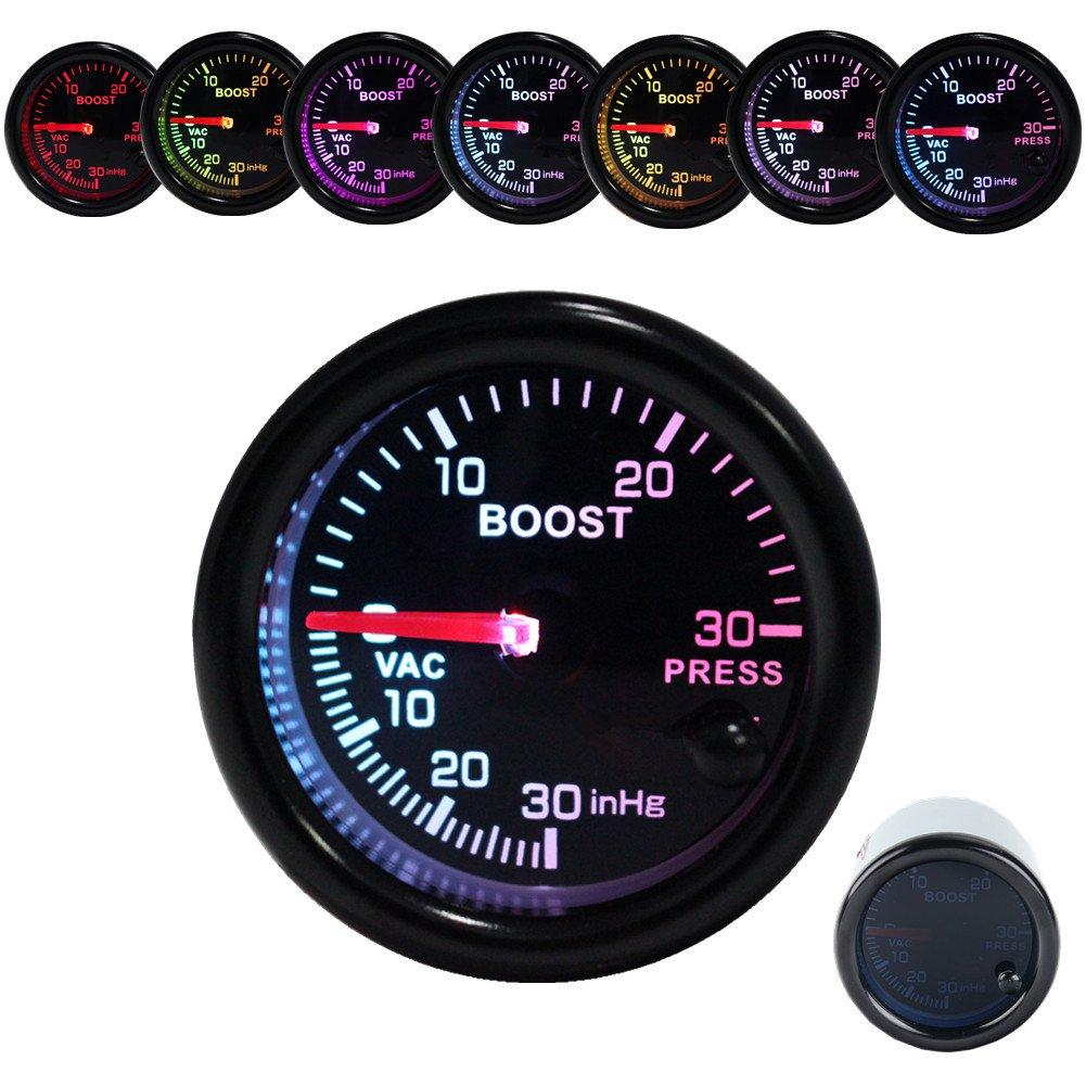 Dewhel 52mm Vision Tachos Black Universal 8k 8000 RPM Tachometer Rev Counter Gauge Whiter LED JDM Sport Meter Kit Race Rally Motorsport Car interior Accessories Gas Powered Engine vehicle