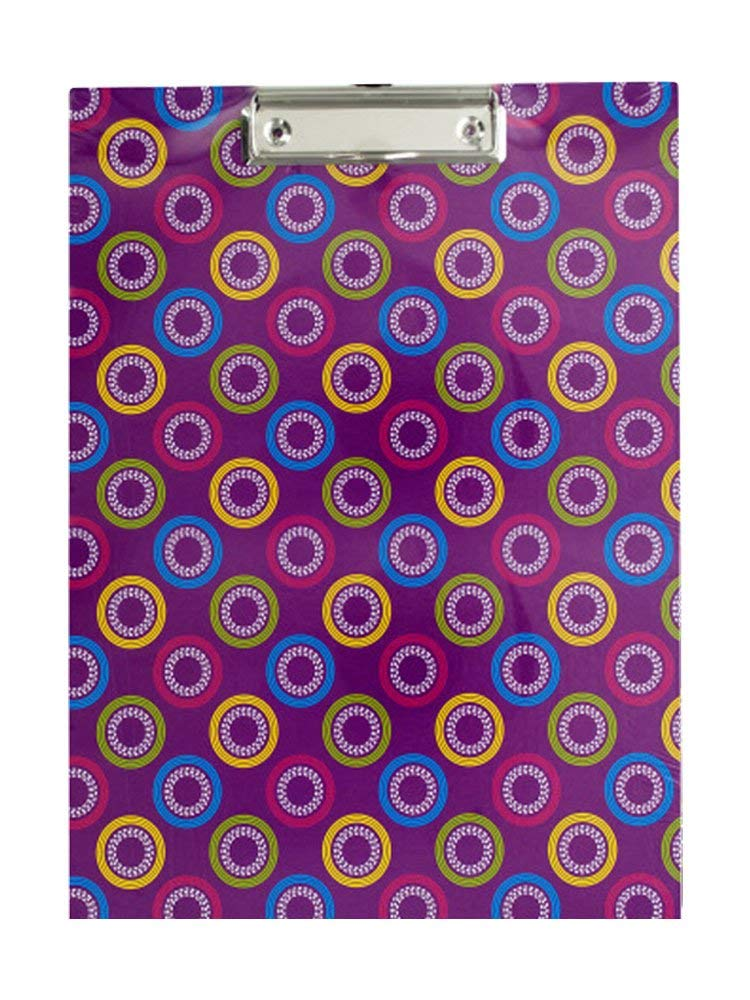 Bulk Buys Pattern Paper Clipboard with Steel Chrome Plated Clip Pack of 12