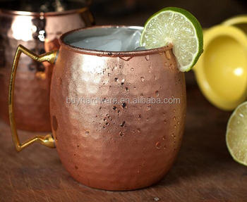 Manufacturer and Exporter of Hammered Copper Barrel Mug With Handle from China