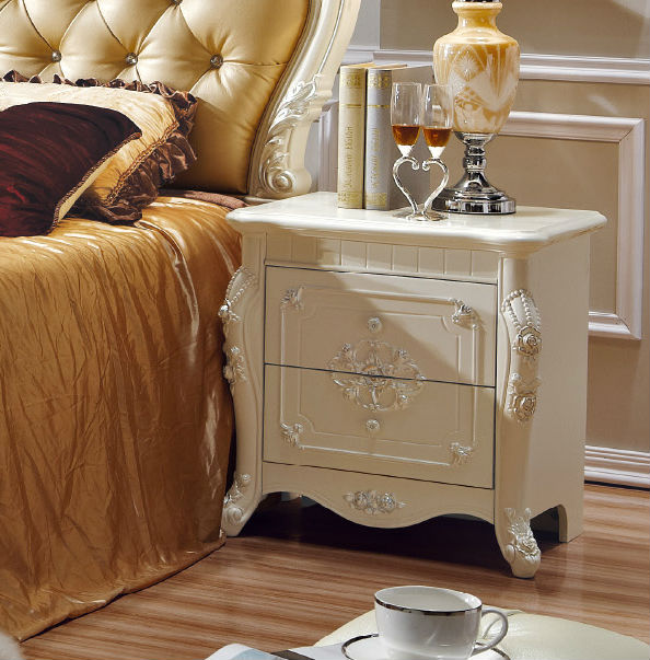 White And Antique Night Stand Side Table In Bedroom Set