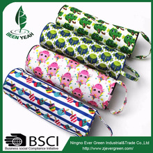 wholesale custom printed pvc zipper pencil bag , polyester round pencil case for school
