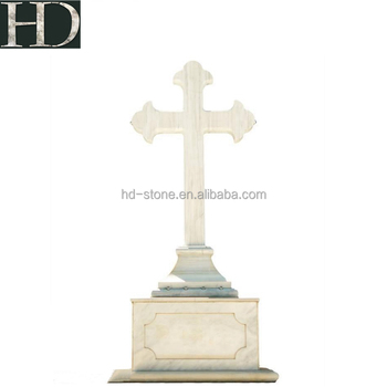 High Quality Customized White Marble Cross Tombstone For Sale