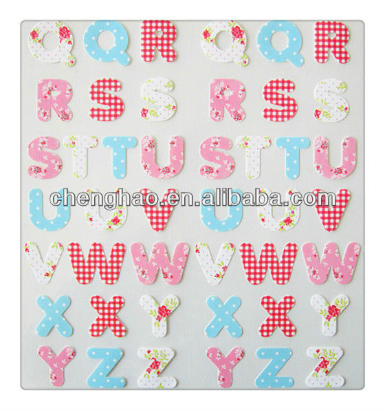 Beautiful alphabet letters home decor fabric sticker