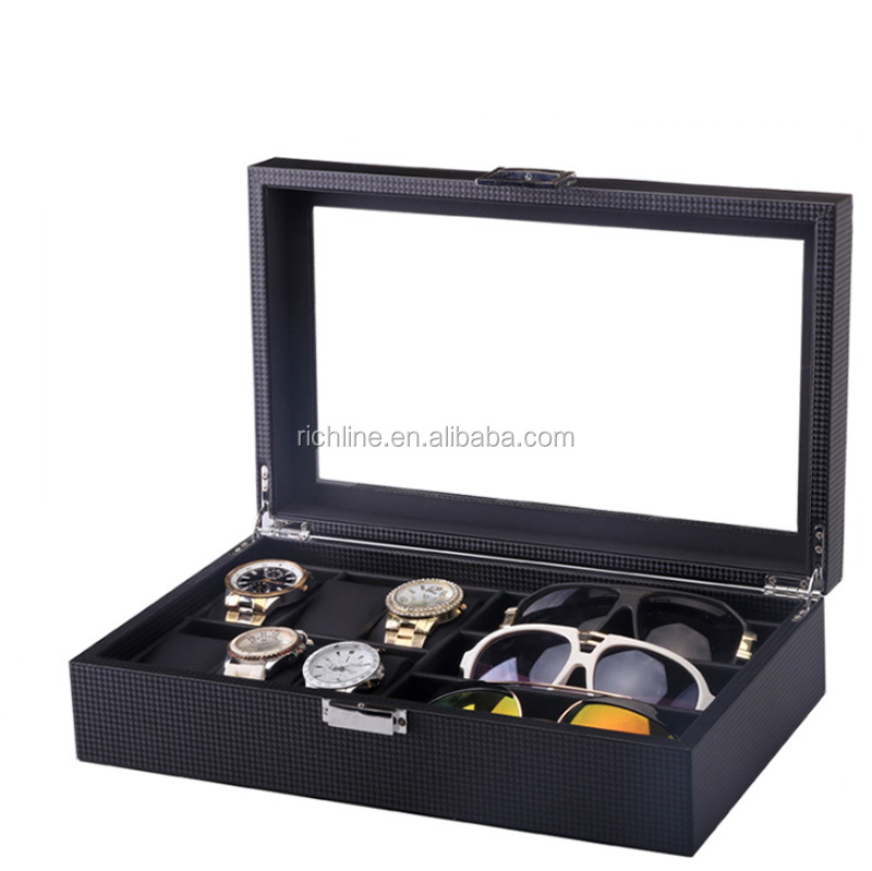 Watch glasses box 6 table +3 glasses receive box carbon fiber PU leather watch sunglasses box display case