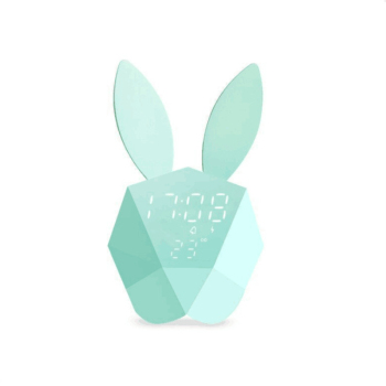 Thermometer cartoon Table Wall clock Built-in Lithium Battery Rechargeable Rabbit Bunny Digital Alarm Clock with night light