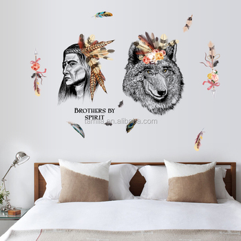 Indian Style Human Head Wall Stickers Nice Bedroom Decor Fashion Wolf Sticker
