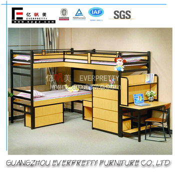 2 Decker Triple Metal Bunk Beds With Wood Board For Kids Buy