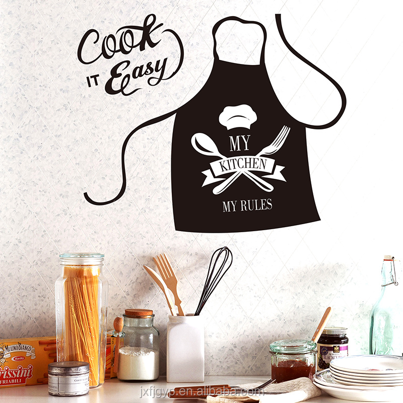 My Kitchen My Rules Quotes Cute Apron Design Cook it Easy Lettering Wall Stickers Kitchen Decor