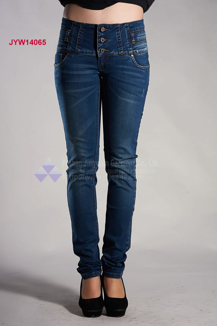 Jeans Brand High Waist With 3 Buttons Fashion Denim Jeans For Girl ...