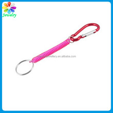 "Carabiner Hook Pink Spring Elastic Plastic Coil Keyring Keychain Strap Rope 5.1"" coil spring keychain"