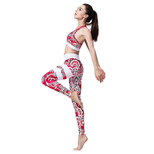 Printed Breathable Sexy Sportswear 2 Pieces Set Of Bra Leggings Tight for Women