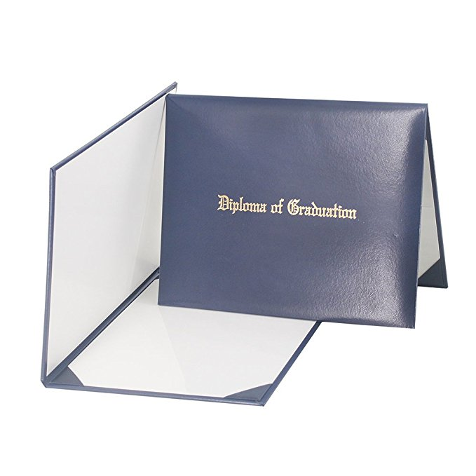 "Custom Leather holder Certificate Cover With ""Diploma Of Graduation"", 4 Ribbon Corner, Imprinted Diploma Cover 8 1/2"" x 11"""