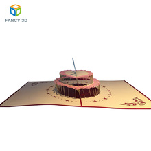 Zebulun Promotional Item Gift Happy Birthday Cake 3D Pop Up Greeting Card