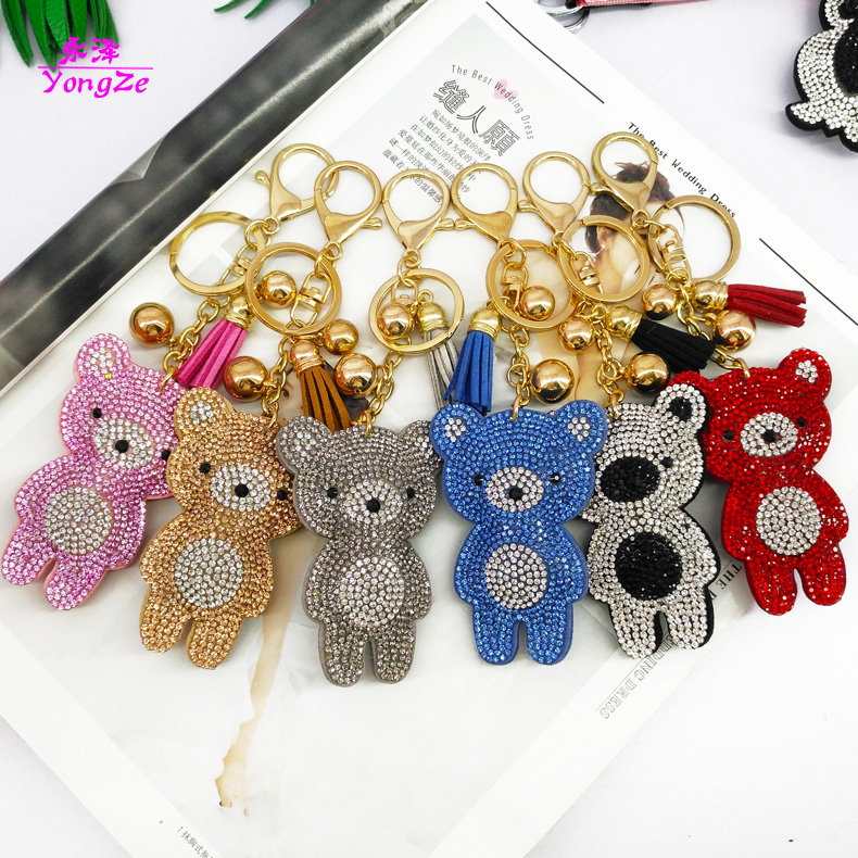Yongze <strong>cute</strong> <strong>gift</strong> for children rhinestone bear keychain cheap diamond keychain