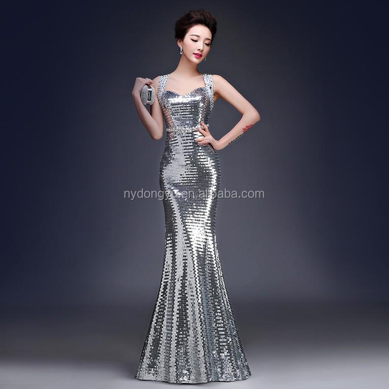 Silver Fancy Evening Dress Party Dress Wedding Dress/ Yf Sky Peocock ...