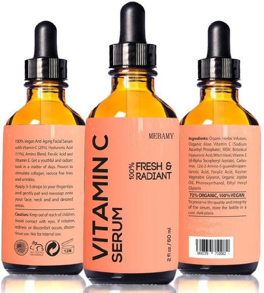 Private Label Vitamin C Serum 100% Vegan Anti Aging Facial Serum