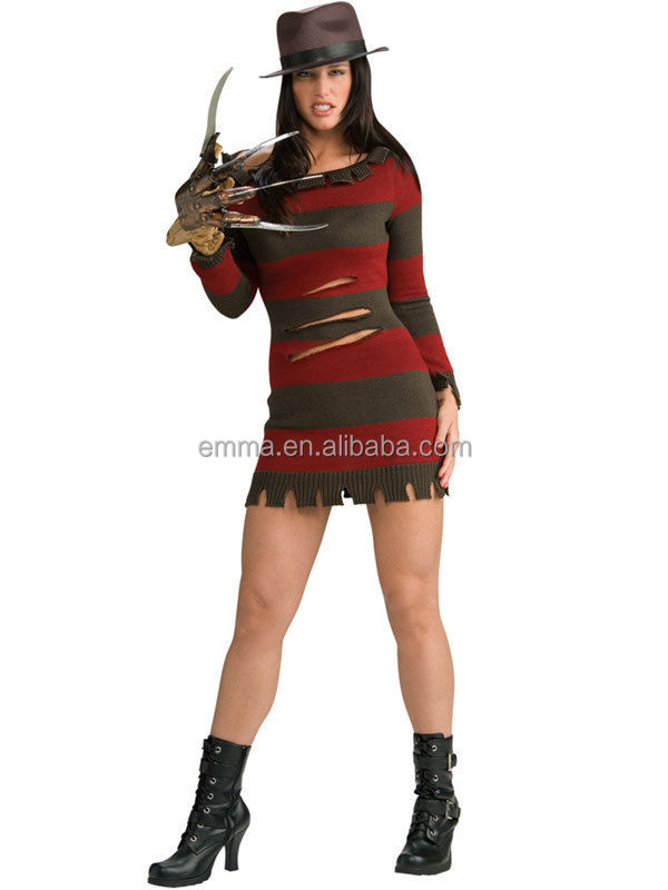 Miss Freddy Krueger Halloween Woman's Fancy Dress Costume + Glove Hat BWG17310