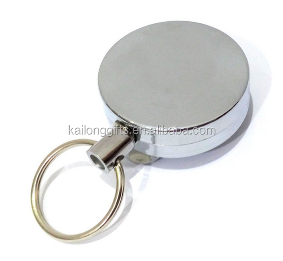 FREE SAMPLE New White Metal Retractable Yoyo Badge Clips Silver Color Reel