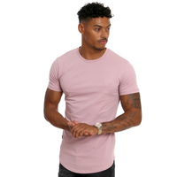 MS-1983 Custom Men's Blank Athletic Apparel Sport Crew Neck Muscle Fit Longline Curved Hem T Shirt
