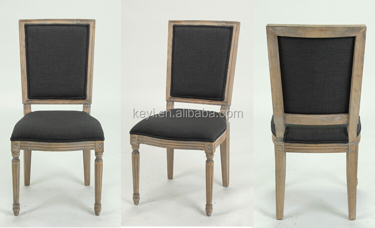 Classic French Style Solid Oak Carved Black Linen Dining Chair Restaurant Ch