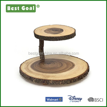 2 Tier Wooden Cup Cake Stand Board Serving Tray Acacia Wood Plate