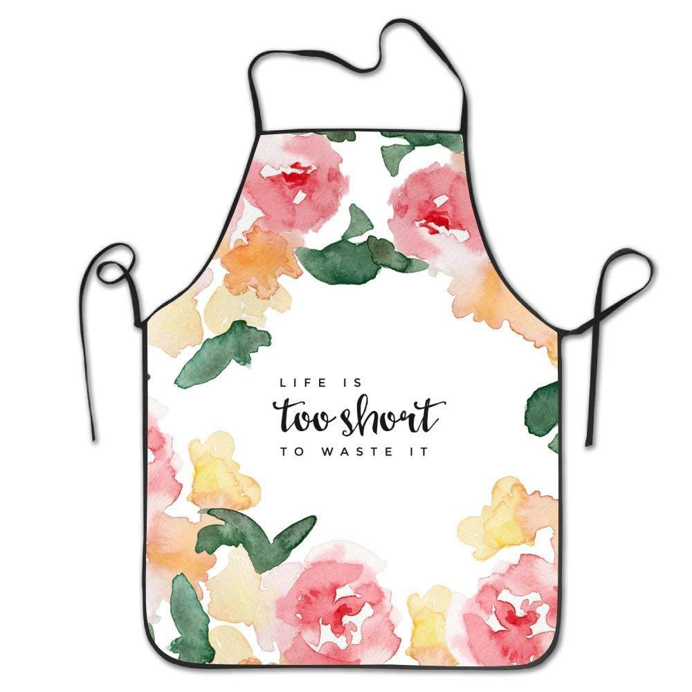 Tesdfk Hip Hop Apron Flower Life is Too Short to Waste It Cartoon Pattern Apron Burlap Cotton Women Apron Chef Kitchen Cooking Apron Bib Sexy Aprons for Women Funny Funny Aprons