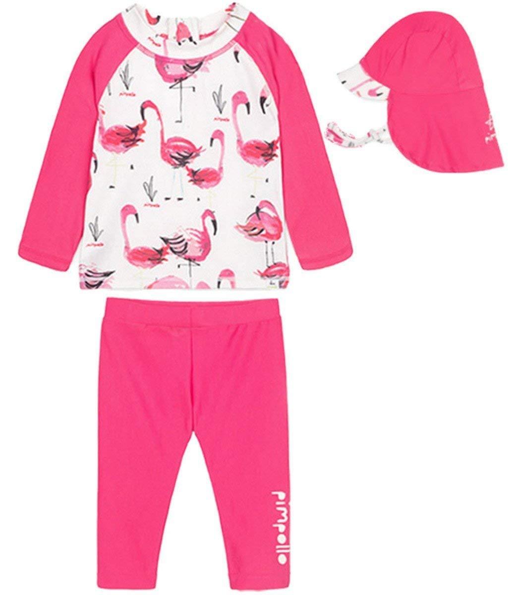 c71c249b88 Baby Kids Little Girls Two Pieces Flamingo Long Sleeve Full Body Rash Guard  UPF 50+