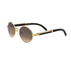 Fashion Vintage Retro Polarized Sunglasses Black OX Horn Temple Sunglasses
