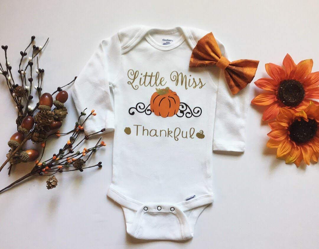 35f55b3296ef Get Quotations · Little Miss Thankful Baby Girl Thanksgiving Bodysuit