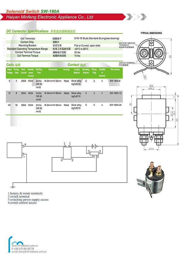 200a dc interruptor de relé contator para empilhadeira elétrica dc motor hidráulico veículo caminhão de lixo