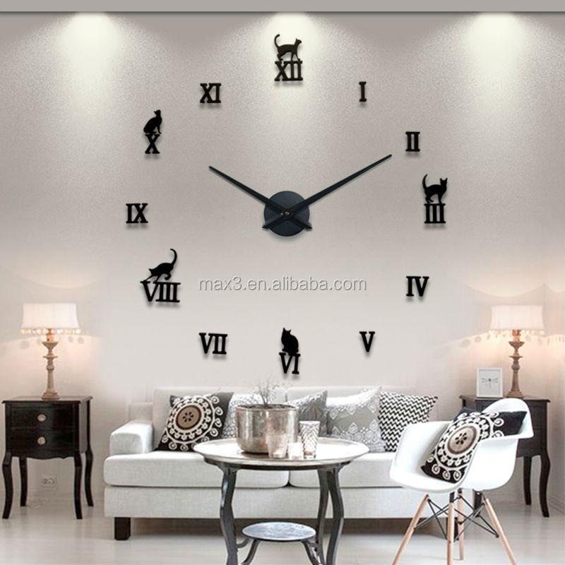 Gambar jam dinding 3d diy stiker cermin modern desain seni for Relojes decorativos para salon