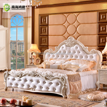 Superbe Modern Luxury Royal French Baroque Rococo Style King Queen Size Cream White  Buttoned Diamond Leather Headboard