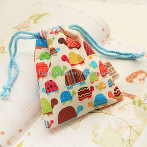 Cute Durable Cotton Drawstring Tote Bags Mobile Phone Cover Gift Thanks Giving Travelling Bags Organizer