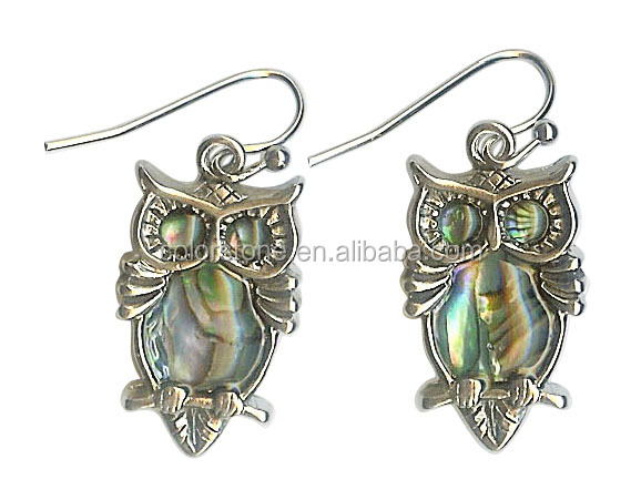 Abalone Shell earring with Owl Shell with owl Earring Owl Charm Dangle Earrings