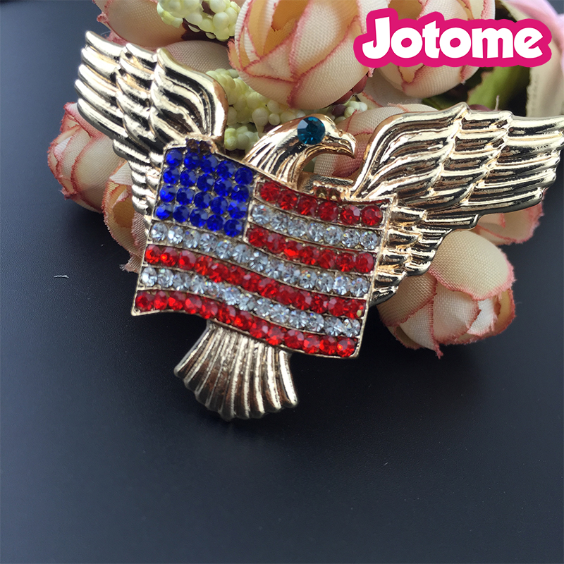 America Eagle and Flag Pin Brooch, Red Blue Clear Us Flag And Eagle Pin Brooch For July 4Th Independent Day