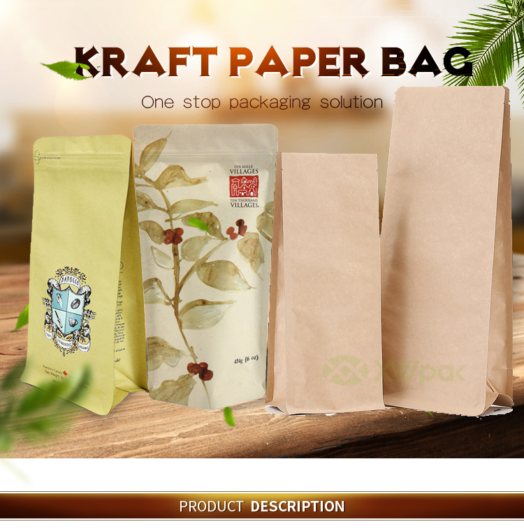 Eco friendly Recyclable stand up pouch biodegradable brown kraft paper zipper tea biodegradable bags