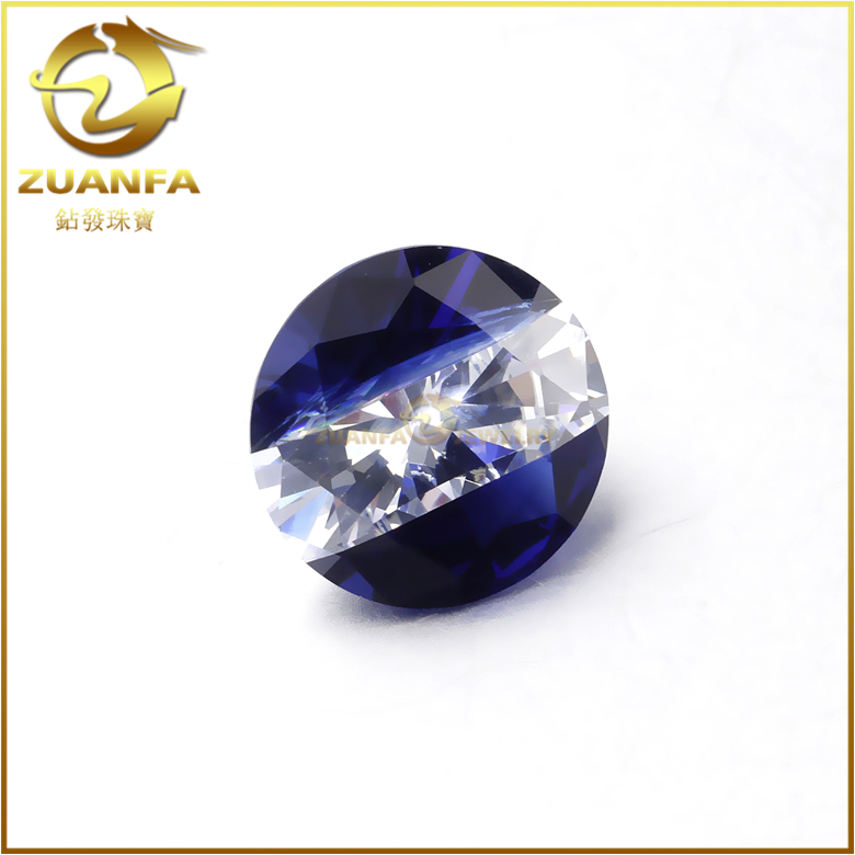 Sounth America jewelry making cz gemstone two color mixed 10mm sapphire white cubic zirconia