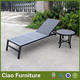 Aluminum Frame Outdoor Teak Wood Sun Lounger With Side Table