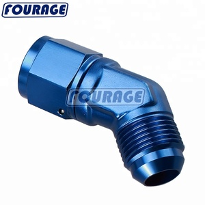 Anodized Aluminum 45 Degree 6AN Male To -6 AN Female Swivel Adapter Fittings