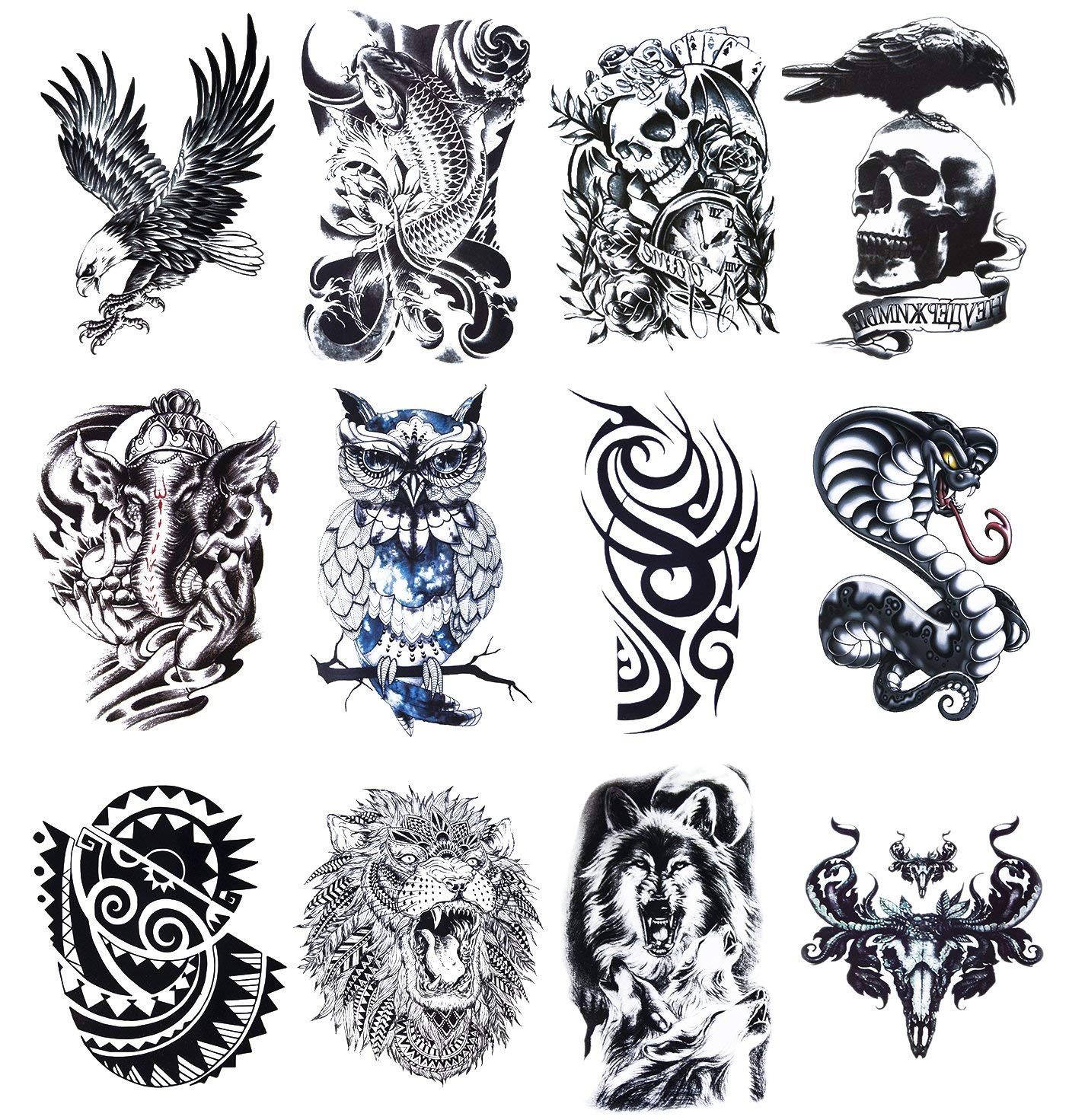 1a01f59f7 Get Quotations · 12 Sheets Temporary Tattoos Stickers, Fake Body Arm Chest Shoulder  Tattoos for Men