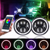 7 inch LED Headlights RGB Halo Ring Angel Eyes Round Multicolor DRL Bluetooth Remote Control for Jeep JK