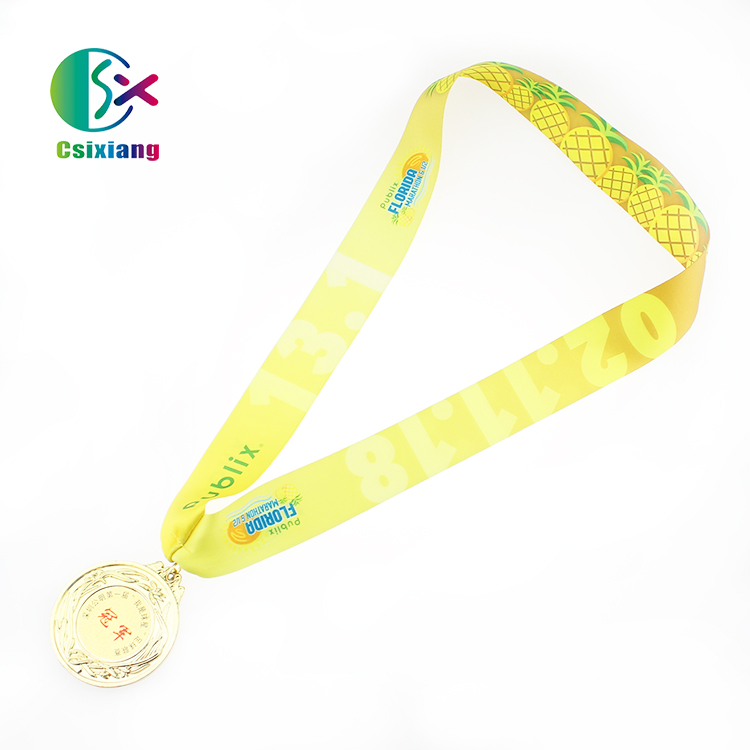 Hot Sales Direct Manufacturer Customized Logo Sublimation Printed Medal Lanyards On Ribbon Lanyards