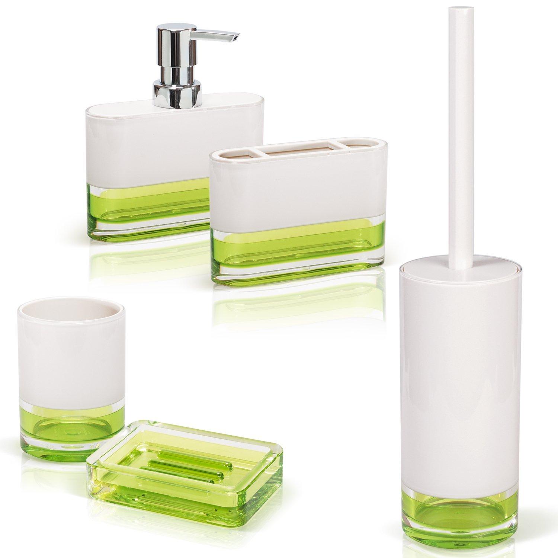 Buy Tatkraft Topaz Green Bathroom Accessories Set of 5: Soap Dish ...