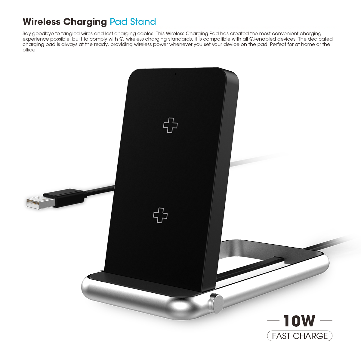 10W Wireless Charger Universal Qi Pad and Charging Stand 2in1 Design