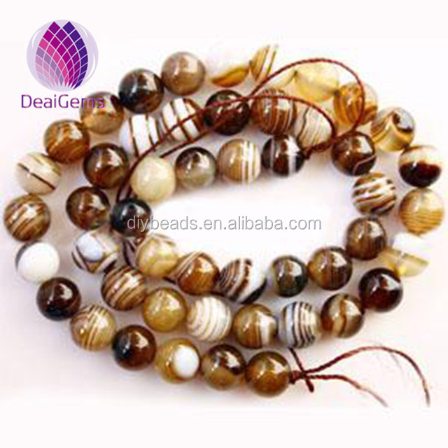 Hotselling 8mm brown striped round agate beads dragon veins agate loose strands beads
