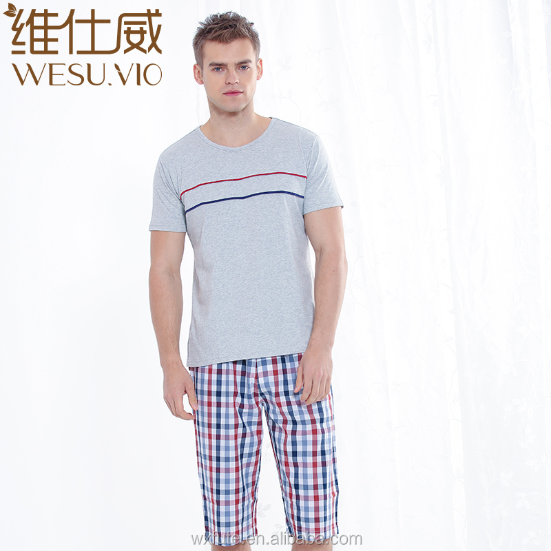 Men Esleep Pajama Pants Cotton Custom Printed Short Cotton Pajamas Set